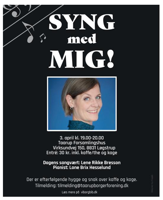 """""""Syng med mig"""" den 3. april kl. 19 -20 Taarup forsamlingshus"""